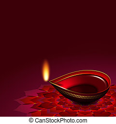 diwali oil lamp over rouge background with place for text