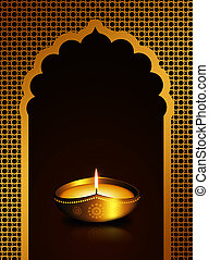 diwali oil lamp over dark brown background - diwali oil lamp...