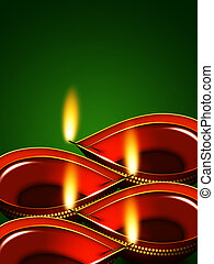diwali oil lamps over green background - diwali oil lamps...