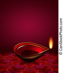 diwali oil lamp over dark red background with place for text