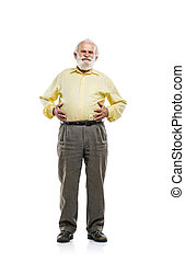 Old man holding tummy - Old bearded man holding tummy...