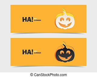 Black and wight smile pumpkin paper cut out - Set of two...