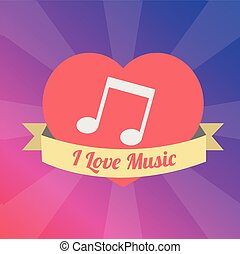 musical note Love to the music illustration over color backgroun