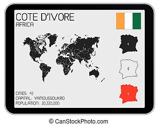 Set of Infographic Elements for the Country of Cote Divoire...