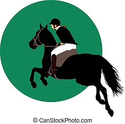 Equestrian sports design - Horse and rider jumping on green...