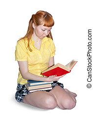 carroty girl with books - Reading girl in yellow skirt....