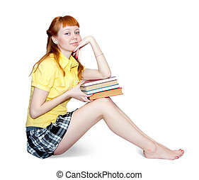sexy girl with books - carroty girl in short skirt with...