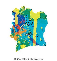 Illustration of a colourfully filled outline of Cote Divoire...