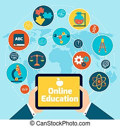Online education concept with science icons human hand...