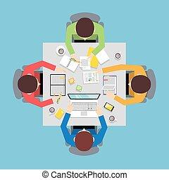 Teamwork people top view - Business team meeting teamwork...