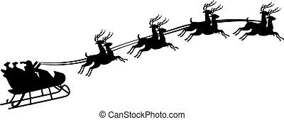Illustration of Santa Claus riding in a sleigh with harness...