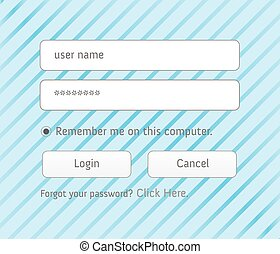 Illustrated login interface - username and password - An...