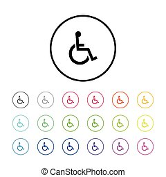 Icon of Wheelchair - Icon Illustration with 18 Color...