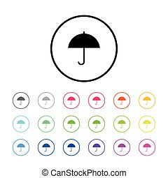 Icon of an Umbrella - Icon Illustration with 18 Color...