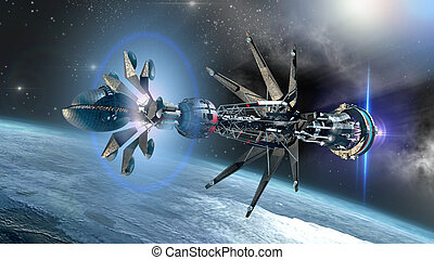 Spaceship with forming Warp Drive - Futuristic military...