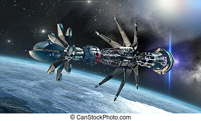 Spaceship with Warp Drive forming - Futuristic military...