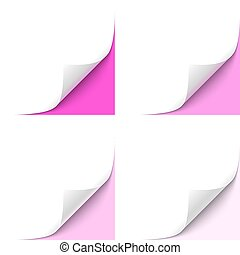 Curled Corner - Curled White Paper Corner with Magenta...