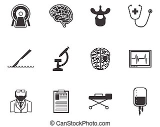 Black vector icons for neurosurgery - Set of black...