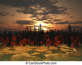 swamp on the background of old wood-3d render