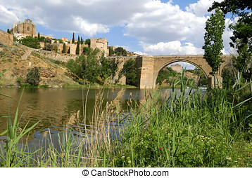 View at Toledo in Spain - View at the old city of Toledo in...