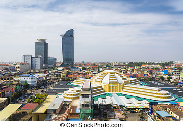 central phnom penh in cambodia - central phnom penh city in...