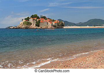 Respectable resort of Sveti Stefan island in Adriatic sea