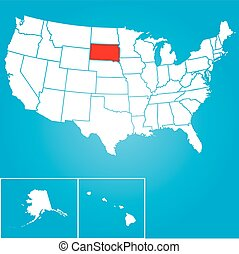 Illustration of the United States of America State - South...