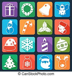 Christmas icons set flat - Christmas holiday decoration flat...