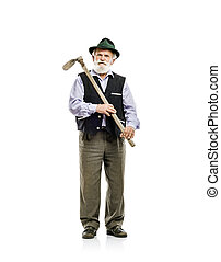 Old man with hoe isolated - Old bearded bavarian man in hat...