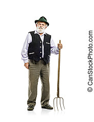 Old man with pitchfork isolated - Old bearded bavarian man...