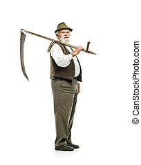 Old man with scythe isolated - Old bearded bavarian man in...