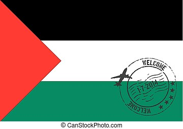 Stamped Illustration of the flag of Palestine