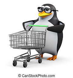 3d Penguin has an empty shopping trolley