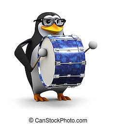 3d Penguin bangs on a big bass drum - 3d render of a penguin...