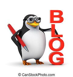 3d Penguin is proud of his blog - 3d render of a penguin...