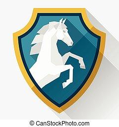 Plano de fondo, con, caballo, posición, en, plano,...