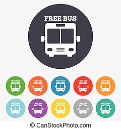 Bus free sign icon. Public transport symbol. Round colourful...