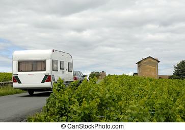 Caravan on a road in France