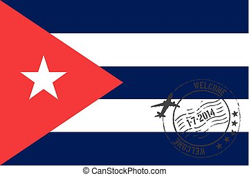 Stamped Illustration of the flag of Cuba - A Stamped...