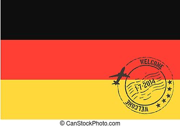 Stamped Illustration of the flag of Germany