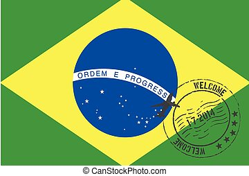 Stamped Illustration of the flag of Brazil
