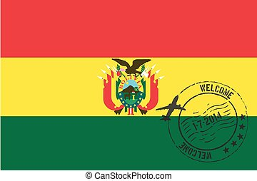 Stamped Illustration of the flag of Bolivia