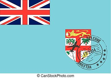 Stamped Illustration of the flag of Fiji - A Stamped...