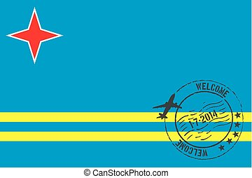 Stamped Illustration of the flag of Aruba - A Stamped...