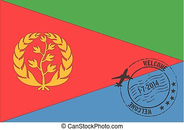 Stamped Illustration of the flag of Eritrea - A Stamped...