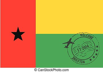Stamped Illustration of the flag of Guinea Bissau - A...