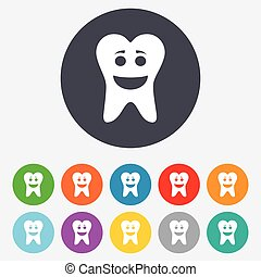 Tooth happy face sign icon. Healthy tooth - Tooth happy face...