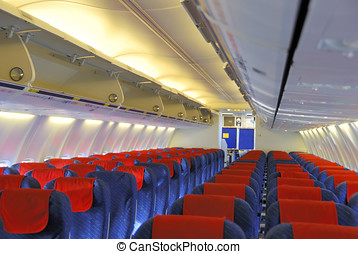 Inside an airplane - Interior of an passengers airplane...