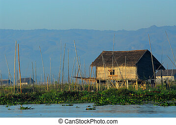 Floating boat in Inle lake.