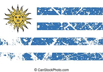 Illustration of a decayted flag of Uruguay - An Illustration...